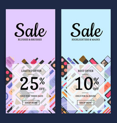 Sale banners for beauty shop with makeup vector