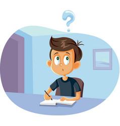 school boy having questions doing homework vector image