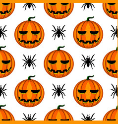 seamless pattern with halloween pumpkin and spider vector image
