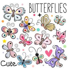 Set cute cartoon butterflies vector