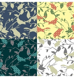 set four seamless patterns with birds and tree vector image