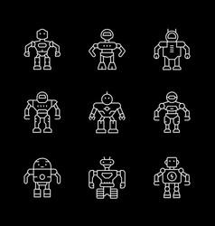 set line icons robot vector image