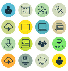 Set of 16 web icons includes login account pc vector