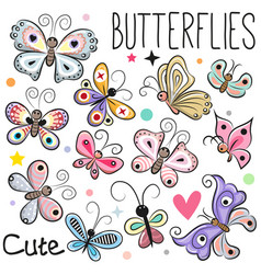 Set of cute cartoon butterflies vector