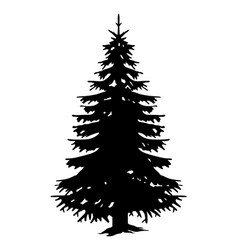 Silhouette monochrome big forest tree vector
