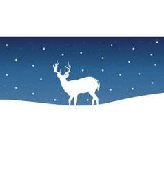 Silhouette of deer winter landscape vector