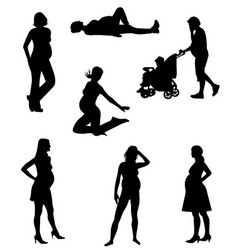 Silhouettes of pregnant women-1 vector