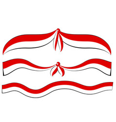 Simple wave red and white ribbon or flag vector