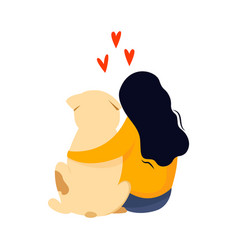 sitting girl embrace her dog friendship concept vector image