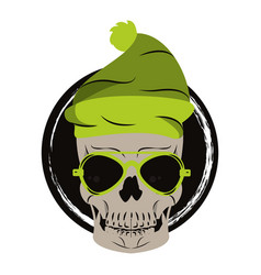 skull with sunglasses and hat vector image