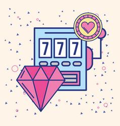 slot machine diamond and chip casino image vector image