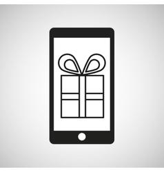 Smartphone e-commerce gift box graphic vector
