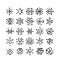 snowflake icons line black set snow christmas vector image