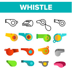 sport plastic whistle color icons set vector image