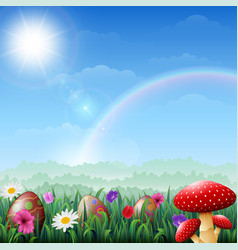 spring easter background easter eggs in grass wit vector image