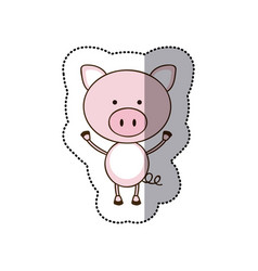 Sticker colorful picture cute pig animal vector