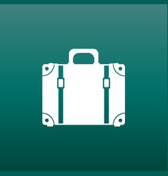 suitcase flat on green background case for vector image