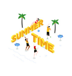 summer time - modern colorful isometric vector image