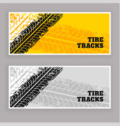 Tire tracks banners grunge background vector
