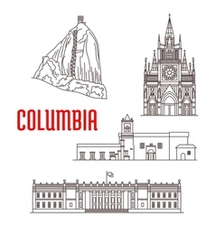 Tourist landmarks and architecture of colombia vector
