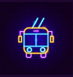 trolleybus front neon sign vector image