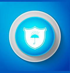 White waterproof icon shield and umbrella vector