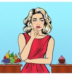 Woman choosing food between fruits and cupcake vector