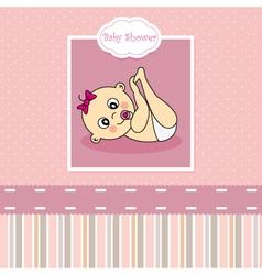 Baby girl birth Greeting Card vector image vector image