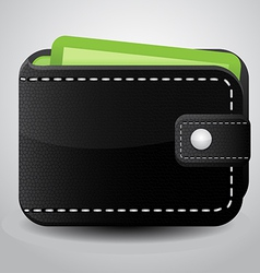 Black Leather Wallet vector image