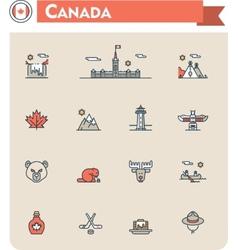 Canada travel icon set vector image vector image
