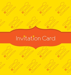 Knife Fork Spoon Invitation Card vector image