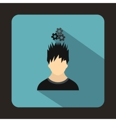 Man with metal gears over head icon flat style vector image