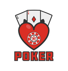 Poker emblem with cards vector