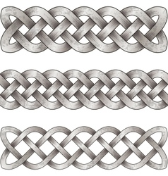 Set of silver celtic braids vector image vector image