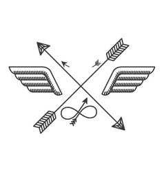 Silhouette with wings and crossed arrows vector