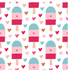 summer seamless pattern with ice creams bright vector image