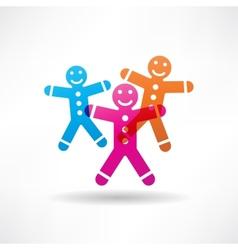 Three colored gingerbread men vector image