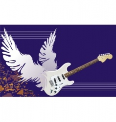 winged guitar vector image vector image