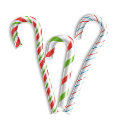 3d xmas candy cane set isolated on white vector image