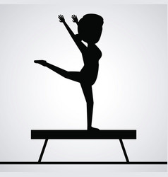 black silhouette faceless woman gymnast on balance vector image