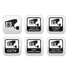 CCTV camera Video surveillance buttons set vector image vector image
