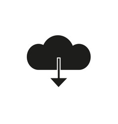 download from cloud black icon vector image vector image
