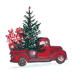 festive new year 2018 card red truck with fir vector image vector image