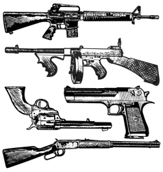 grunge gun collection vector image vector image