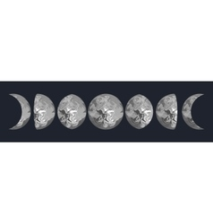 Moon phases Grey marbled vector image