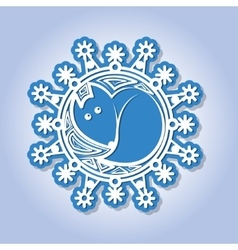 Snowflake with image of a fox vector image
