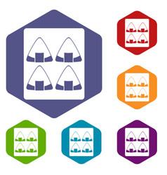 Sushi icons set hexagon vector