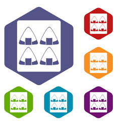 sushi icons set hexagon vector image vector image