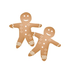 Two Traditional Christmas Homemade Gingerbread Man vector image