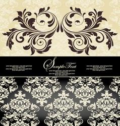 vintage damask invitation card vector image